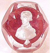 Baccarat glass sulphide paperweight