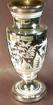 Mercury glass or silvered glass vase